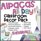 Alpacas All Day Editable Classroom Decor Pack