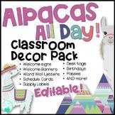 Alpacas All Day Editable Classroom Decor Pack