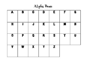 Alpha Boxes for Alphabetical Order, Lesson Review, and More!