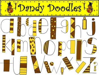 Alpha Doodles Brown and Yellow Alphabet Clip Art by Dandy Doodles