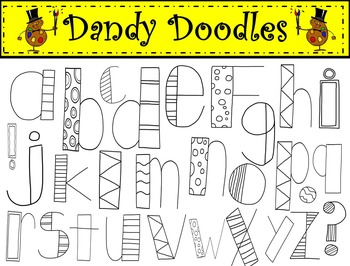 Alpha Doodles Bright Colors Clip Art by Dandy Doodles