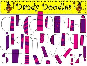 Alpha Doodles Purple and Pink Alphabet Clip Art by Dandy Doodles