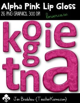 Alpha Pink Lip Gloss Clip Art ~ Lowercase ~ Alphabet