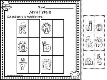 Alpha Turkeys:  LOW PREP Thanksgiving Themed Letter Matching Activity