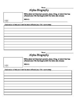 Alpha-autobiography narrative writing