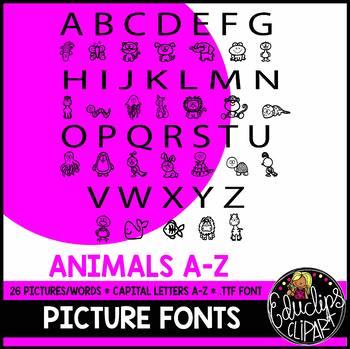 Alpha-pics Animals Alphabet Picture Font {Educlips Clipart}