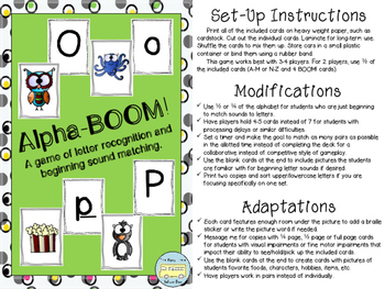 AlphaBOOM: A Game of Letter Recognition and Beginning Sounds