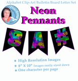 Alphabet Clipart Bulletin Board Set Neon Letter Pennants