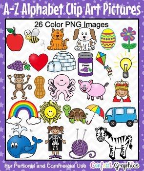 Alphabet A-Z Phonics Picture Clip Art Set 26 Bright Color Images
