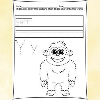 "Alphabet Letter of the Week ""Letter Y"" (Alphabet Worksheets)"