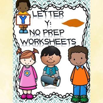 Alphabet Letter of the Week: Letter Y (No Prep Worksheets)