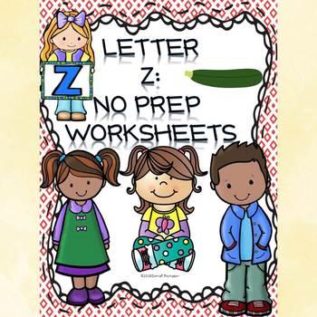 Alphabet Letter of the Week: Letter Z (No Prep Worksheets)