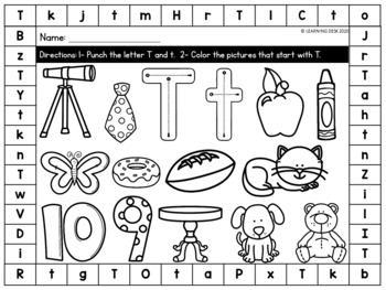 Alphabet Worksheets - Letter Recognition (Color and Punch)