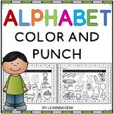 Alphabet Worksheets A-Z Kindergarten - Letter Recognition (Color and Punch)