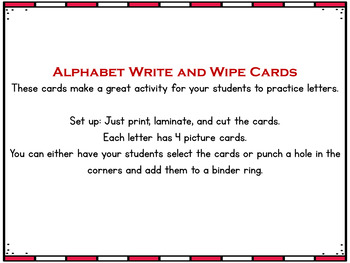Alphabet Activities (Write and Wipe Cards)