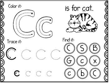 Alphabet (A-Z) Color it, Trace it, Find it