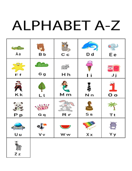 Alphabet A-Z Letter And Picture Card Alphabet Flash Cards A-Z