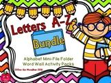 Alphabet A-Z Mini-File Folder Word Wall Activity Packs   Bundle
