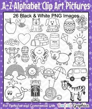 Alphabet A-Z Phonics Picture Clip Art Set 26 Black & White Black Line Images