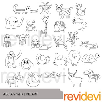 Alphabet animals clip art (black and white clipart)