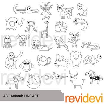 Alphabet ABC Animals line art - clip art blackline