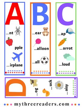 Alphabet ABC Bookmarks with Initial Sound Practice for Phonemic Awareness