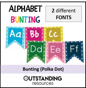 Alphabet ABC Bunting (Polka Dots) - 2 different FONTS