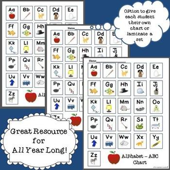 FREEBIE! Alphabet - ABC Chart for Literacy Activities