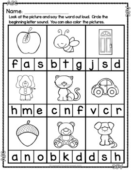 No Prep Alphabet ABC Circle the Beginning Letter Sounds Worksheets