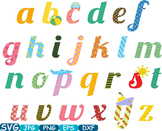 Alphabet ABC Multicolour small Word Art clip art letters t-shirt cute toys -268s