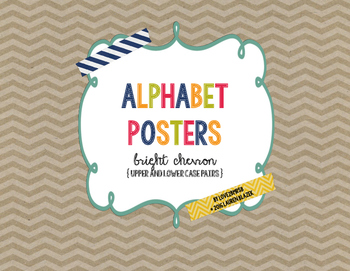 Alphabet (ABC) Posters with Upper and Lower Case Pairs {Bright Chevron}