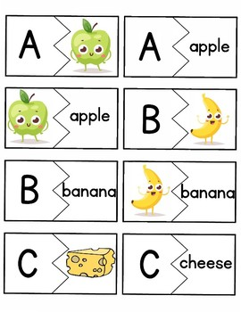 Alphabet / ABC Puzzle Matching Cards - Letter with words and pictures