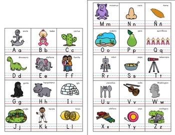 Alphabet ABC posters English - words Spanish cognates