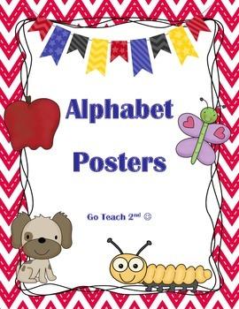 Alphabet ABC posters - Red Chevron