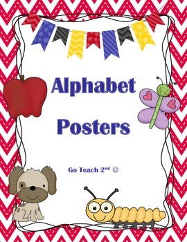 Alphabet ABC posters - Red Chevron