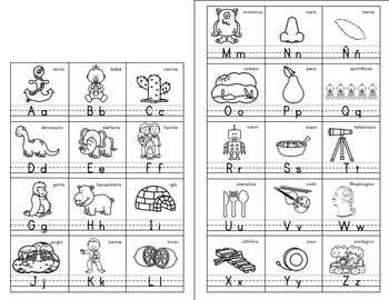 Alphabet ABC posters Spanish - Abecedario words English cognates