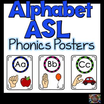 ASL Alphabet Phonics Classroom Posters American Sign Language Color