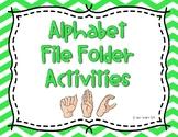 Alphabet ASL Write and Wipe File Folder Activities