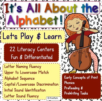 22 Alphabet Activities: Concepts of Print, Phonics, PreReading, & PreWriting