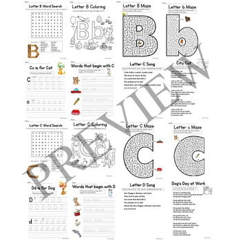 Alphabet No Prep Literacy Activity Packet and Letter Worksheets