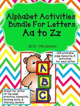 Alphabet Activities BUNDLE for Letters Aa to Zz