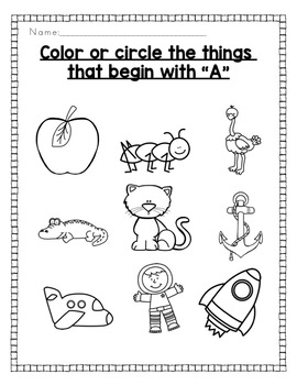 Alphabet Activities: Color or Circle the Beginning Sound Picture