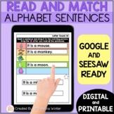 Alphabet Activities - Read and Match Sentences - digital &
