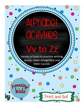 Alphabet Activities Vv to Zz