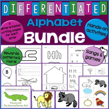 Alphabet Unit Bundle - Differentiated Letter Writing Pages & Activities
