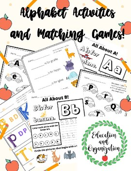 Alphabet Activities and Matching Games