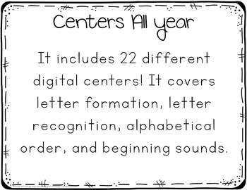 Alphabet Center Activities for PowerPoint Use: Paperless Phonics Centers
