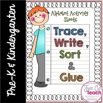 Alphabet Activities~Trace, Write, Sort and Glue