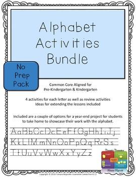 Alphabet Activity Bundle - No Prep (Upper & Lower Case Letters)