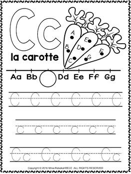 alphabet activity sheets french letter c by teachersavers tpt. Black Bedroom Furniture Sets. Home Design Ideas